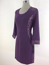 Andrew Marc New York NEW Slimming Sexy Purple Lace mesh design dress size 10