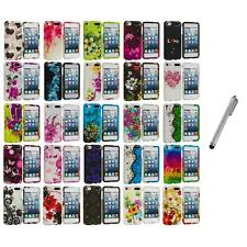 Flower Design Hard Rubberized Case Cover+Metal Pen for iPod Touch 5th Gen 5G