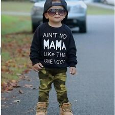 Newborn Toddler Kids Baby Boys Long T-shirt Tops+Camo Pants 2pcs Outfits Set New