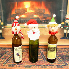 Santa Hat Wine Bottle Cover Topper Christmas Party Table Decoration QW