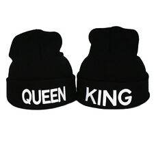 Fashion Black Couples Lovers Warm Knitted King and Queen Letter Beanie Hat Cap