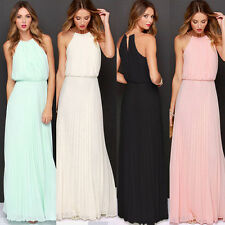 Hot Women Chiffon Party Cocktail Casual Wedding Prom Pleated Long Maxi Dress