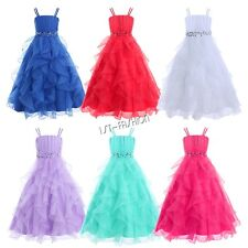 Girls Organza Flower Girl Dress Princess Pageant Wedding Bridesmaid Formal Dress