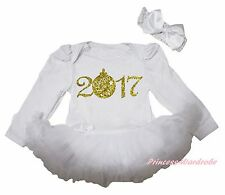 Gold 2017 New Year White Cotton L/S Bodysuit Girls Baby Dress Outfit Set NB-18M