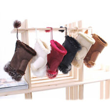 Women's Rabbit Fur Leather Winter Warm Fingerless Mittens Suede Wrist Gloves