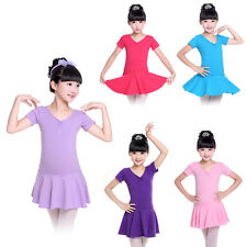 Girls Kids Gymnastics Leotard Dress Ballet Dance Tutu Skirt Dancewear Costume