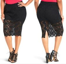 24 3X Sexy Torrid Black Lace Pin Up Rockabilly Gothic Lace Pencil Skirt Skort