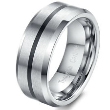 8mm Mens High Polished Plated Black Tungsten Carbide Wedding Band Rings Size8-12