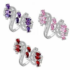 Silver Plated Colored Gems Finger Rings 18K Gold Filled Plum Style Jewelry