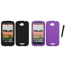 For HTC One VX Silicone Skin Rubber Soft Case Phone Cover Stylus Pen