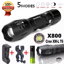 X800 Flashlight 5000Lm LED Zoomable Military Torch G700 with Battery Charger Kit