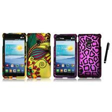 For LG Lucid 2 VS870 Snap-On Design Rubberized Hard Phone Case Cover Stylus Pen