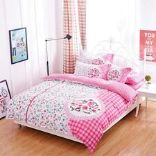 Rosey Pink Floral Style With Checkered Patterned Single /Queen /King Bed Set