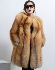 Winter Warm Real Red Fox Fur Long Coat Natural Fox Fur Jacket Outwear Vintage