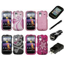 For HTC Amaze 4G Diamond Diamante Bling Rhinestone Case Cover Charger Stylus