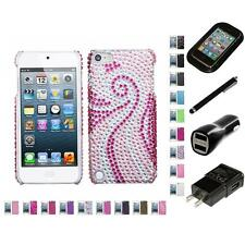 For Apple iPod Touch 5th 6th Gen Diamond Bling Rhinestone Case Charger Stylus