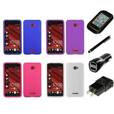 For HTC Droid DNA Silicone Skin Rubber Soft Case Phone Cover Charger Stylus