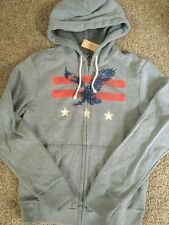 NWT Mens AMERICAN EAGLE Graphic Full Zip Hoodie Sweatshirt, Gray