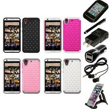 For HTC Desire 626 Rhinestone Rugged Armor Bling Case Phone Cover Accessories