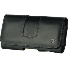 Luxmo Premium Black PU Leather Belt Clip Holster Pouch Large Case For Phones