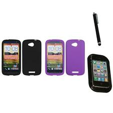 For HTC One VX Silicone Skin Rubber Soft Case Phone Cover Mount+Pen