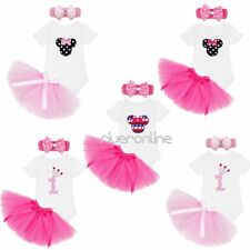 Newborn Baby Girls 1st Birthday Romper Tutu Skirt Outfit Party Headband Outfit