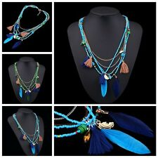 Long  Multilayer Necklace Beads Chain Tassel Feather Pendant Ethnic Stylish