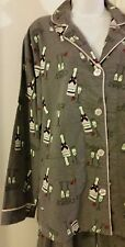 NWT~L~LOUNGE AFFAIR WOMENS CUTE COMFY COZY FLANNEL PAJAMA SET,CHAMPAGNE CHEERS