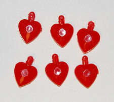 VINTAGE FACETED PLASTIC HEART SHAPED BEADS PENDANTS • RED or PINK • 13mm
