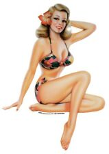 MINI 3 inch SEXY VINTAGE Blond Nostalgic Fifties PIN-UP Beach GIRL STICKER/DECAL