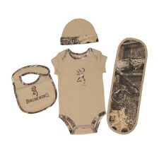 BROWNING BUCKMARK & SANDSTONE TAN MOSSY OAK INFINITY CAMO BABY INFANT SET - 4 PC