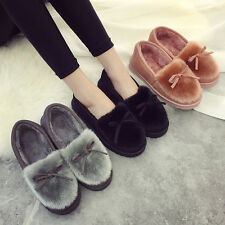 Sweet Tods Velet Bowknot Warm Ponyskin Plush Driving Trim Flats Loafers Shoes