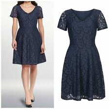 M&S Pretty Blue Lace Skater Dress Short Sleeve Fully Lined