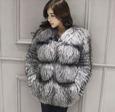 Women's Real Whole Silver Fox Fur Coat Natural Warm Jacket Winter Overcoat New