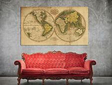 002 Very Old Map of the World Hemisphere Two spheres vintage glossy paper