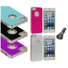 Aluminium Brushed Metal Color Hard Ultra Thin Case+Car Charger For iPhone 5 5S