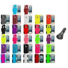 Hybrid Mesh Hard/Soft Silicone Case Cover+Car Charger for iPhone 5 5S Accessory