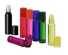 1/3 oz.Glass Roll-On Bottles Vials 10 ml. w/ caps and inserts MIXED COLOR OPTION