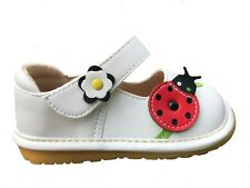 Girls White Squeaky Shoes Toddler Infant Baby Girls White Leather Pink Butterfly
