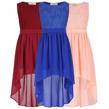 NEW Kids Girls Lace Formal Chiffon High Low Dress Evening Casual Party Dresses