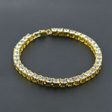 "Mens/Womens 18K Hip Hop Bracelet Silver/Gold Filled Rhinestones 8"" Chain Jewelry"