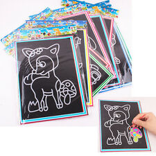 Colorful Scratch Art Paper Magic Painting Paper with Drawing Stick Kids Toy   tb