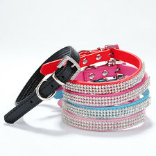 Bling Rhinestone Leather Crystal diamante Dog Collar Pet Cat Puppy Collars
