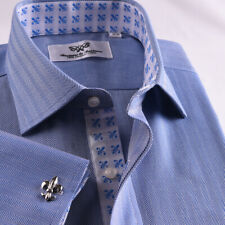 Mens Blue Formal Herringbone Business Dress Shirt French Double Cuffs Luxury Top