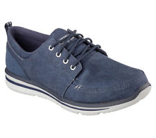64913 Navy Skechers Shoes Men New Memory Foam Relax Casual Canvas Comfort Oxford