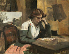 "Camille Corot : ""Young Girl Reading"" (c.1868) — Giclee Fine Art Print"