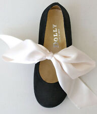 ~GASP!~ DOLLY LE PETIT TOM NEW BLACK SUEDE SATIN RIBBON BOW BALLET FLATS 28 NIB