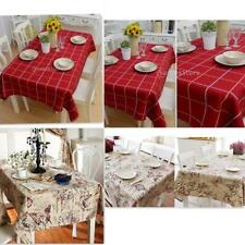Retro Tablecloth British Style Square/Rectangular Floral/Plaid Table Cover Decor