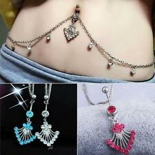 Crystal Dangle Belly Bar Navel Ring Button Bar Waist Chain Jewelry Gift 3 Colors