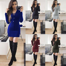 Womens Ladies Lace Up Knitted Sweater Slim Bodycon Jumper Tunic Short Mini Dress